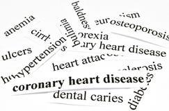 冠状心脏病。不健康的营养造成的疾病的医疗保健概念 免版税库存照片