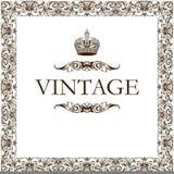 冠装饰框架葡萄酒 库存图片