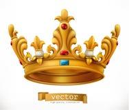 冠金子成珠状红色红宝石 国王 适应图标 向量例证