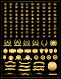 冠,传染媒介汇集,金子 免版税库存照片
