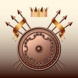 冠,古铜色盾和克服的矛。 免版税库存图片