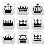 冠,被设置的皇家按钮 免版税库存图片