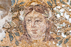 冥府马赛克在罗马浴的在蒜味咸腊肠,塞浦路斯 库存照片