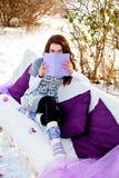 冬天、森林、沙发和妇女阅读书 免版税库存照片