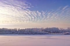 冬天上色了与树和froster河的风景冷光雾的在日落 库存照片