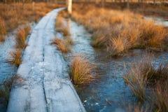 冬天与一条冻木板走道的日落背景在冰冷的水 库存图片