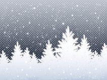 冬天与冰冷的云杉的森林的圣诞节风景 皇族释放例证