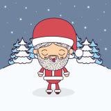 冬天与圣诞老人充分的身体讽刺画的风景背景以眼睛抛售了和舌头宁静 库存例证