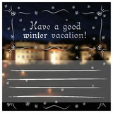 冬天与城堡的问候明信片 免版税库存图片