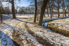 冬天与弯曲的走的足迹的树车道 库存图片