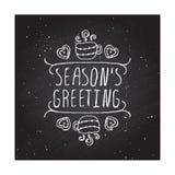 冬天与文本的贺卡在黑板 免版税库存照片
