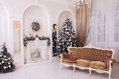 冬天与新年装饰品的圣诞树 免版税库存图片