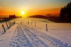 冬天与树和领域路的日落风景 免版税库存照片