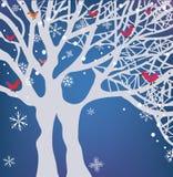 冬天与树的圣诞节背景 库存例证