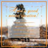 冬天与树的贺卡在背景 免版税图库摄影