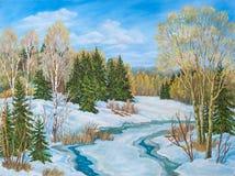 冬天与河的天空蔚蓝风景 ?? 原始的油画 免版税图库摄影