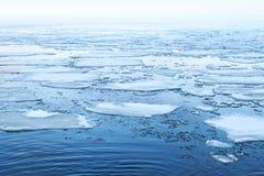 冬天与浮动冰片段的海风景 免版税库存照片