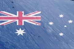 冬天与混和澳大利亚旗子的滑雪题材 免版税库存图片
