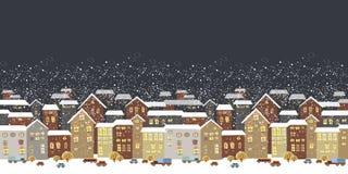 冬天与童话房子的圣诞节风景 库存图片