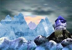 冬天与落的雪和城堡的山风景 免版税库存照片
