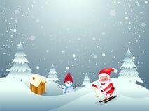 冬天与逗人喜爱的圣诞老人项目的例证的风景背景 库存例证