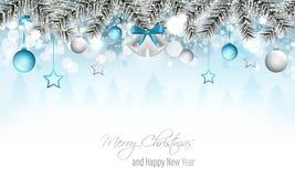 冬天与银铃、分支、圣诞节球、星、降雪、雪花和多雪的森林快活的Ch的风景横幅 免版税库存图片