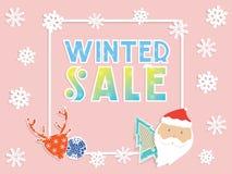 冬天与雪花的销售横幅,圣诞老人、鹿和圣诞节戏弄 免版税库存图片