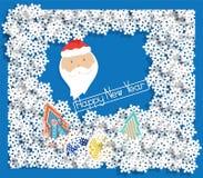 冬天与雪花的风景横幅,圣诞老人 向量例证