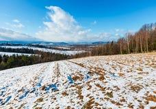 冬天与领域、树丛和村庄的山风景 图库摄影