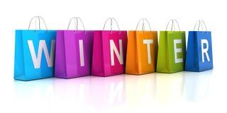 冬天与购物袋, 3d的销售概念回报 免版税库存图片