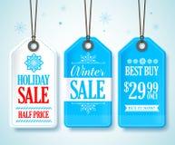 冬天为季节性商店促进设置的销售标记 免版税库存照片
