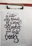 冬天为温暖的毯子书法背景被做了 免版税图库摄影