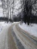 冬天乡下公路在莫斯科地区 免版税库存照片