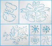 冬天乱画汇集 时髦的设计元素 免版税库存图片