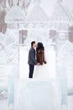 冬天亲吻在冰中间的婚礼夫妇在一个多雪的镇、新娘皮大衣的和白色礼服计算 免版税图库摄影
