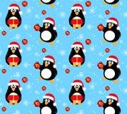 冬天企鹅无缝的样式 免版税库存照片