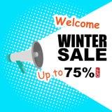 冬天传染媒介图象的销售公告75% 免版税库存照片