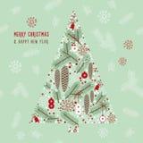 冬天例证,圣诞树 免版税库存图片