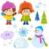 冬天儿童传染媒介集合 免版税图库摄影
