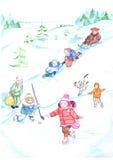 冬天儿童的图画男孩女孩步行雪幻灯片雪橇,滑冰,曲棍球,幸福,喜悦,自然 库存图片