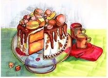 冬天党蛋糕的例证 库存图片