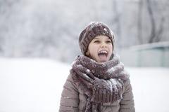 冬天公园的背景的愉快的小女孩 图库摄影