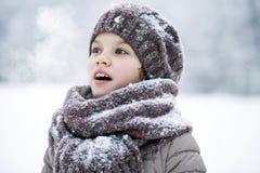 冬天公园的背景的愉快的小女孩 免版税库存图片