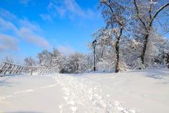 冬天公园美丽如画的风景,报道用雪,与一个美丽的灯笼反对天空 免版税库存照片