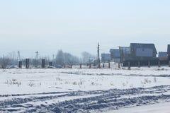 冬天农村横向 库存图片