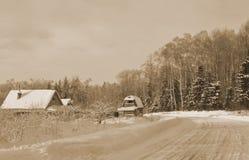 冬天农村风景在俄国村庄 库存图片