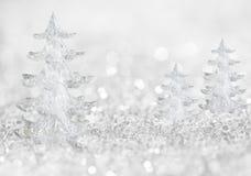 冬天冰与抽象光的树背景 免版税库存图片