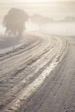冬天冰冷的路 免版税库存照片