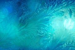 冬天冰霜,结冰的背景 结霜的玻璃窗textur 免版税库存照片