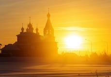 冬天冷淡的有薄雾的早晨 库存图片